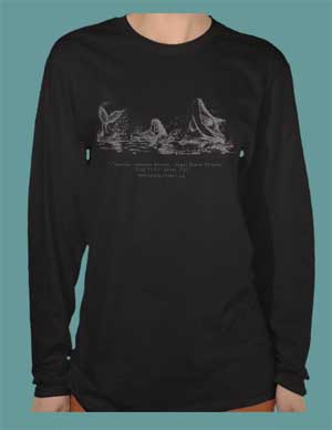 fashion T-shirt with drawing of 3 playful killer whales by Bonnie Greta